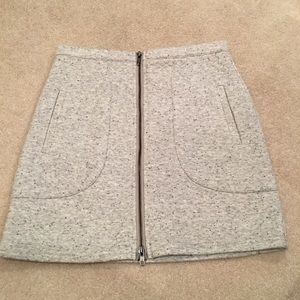 NWT Light Grey Quilted Zip Mini Skirt Size Small